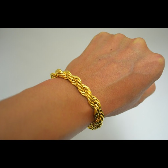57 off handmade item made to order other 10mm 24k gold overlay 10mm 24k gold overlay french rope chain bracelet sciox Gallery
