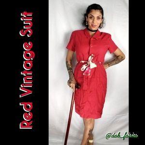 Vintage Dresses & Skirts - Vintage 8os red one piece suitdress