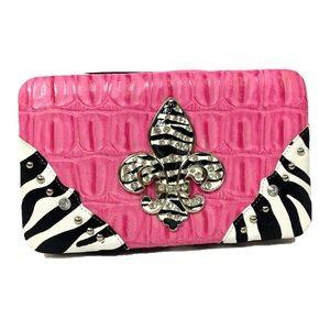 Zebra pink and black wallet