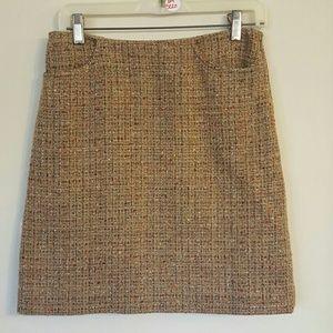 Kate Hill Sz 8P Petite Brown Orange Wool Skirt