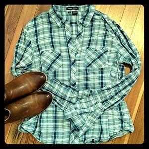 Sandra Ingrish Tops - *CCO SALE* LN Blue, Tan Plaid Button-up Flannel