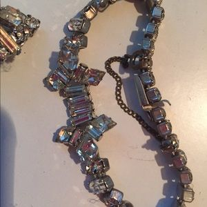 Vintage Rhinestone Bracelet and matching Earrings
