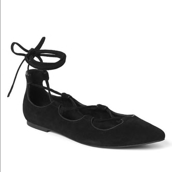 bf23858f8 GAP Shoes | Black Strappy Lace Up Flats 8 | Poshmark