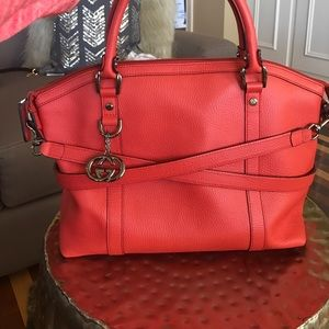 Red Gucci bag convertible dome satchel