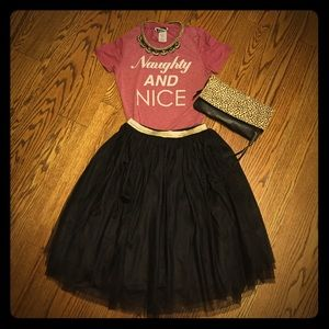 Xhiliration black tulle skirt elastic waist sz S