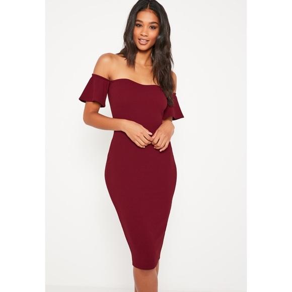 c1d1393523343 Missguided Burgundy Bardot Midi Dress. M 5829dbacbf6df542ff0b74b7