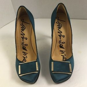 Lanvin Shoes - Lanvin teal satin platform stiletto pumps