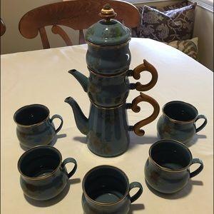 Mackenzie Child's Enamel Coffee Tea Sugar 5 Cups