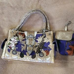 Handbags - Purple camouflage western concealed weapon handbag