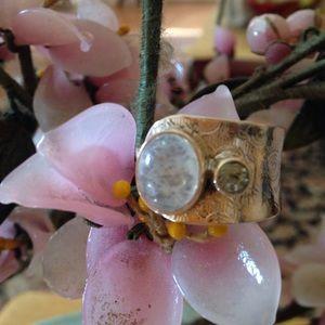 Vintage 925 moonstone aqua marine ring