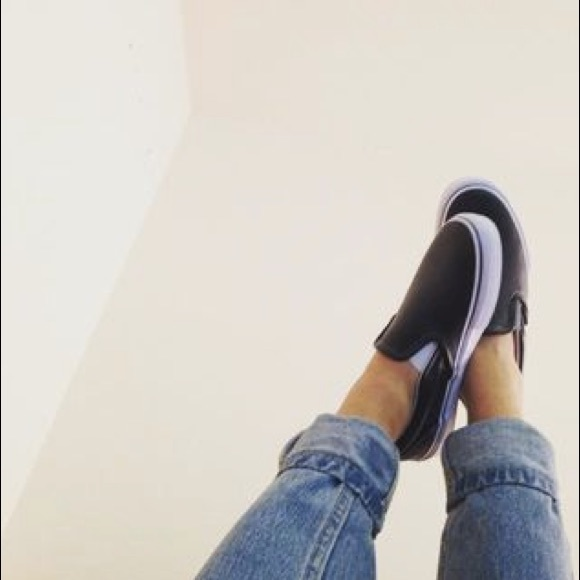 40d3526d8c0e Vans Perforated Leather Slip-on in black. M 5829f3a59c6fcfa37a0bc1d4