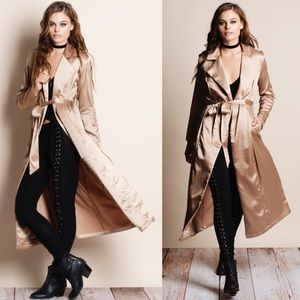 "Bare Anthology Jackets & Coats - ""Nocturne"" Long Satin Duster Jacket"
