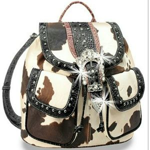Handbags - Rhinestone buckle steer hide drawstring backpack