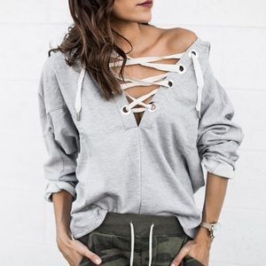 Bare Anthology Tops - Lace Up Hoodie Sweater Top
