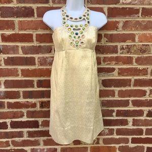 Shoshanna Dresses & Skirts - Shoshanna Halter Necklace Dress 0 Gold Cocktail