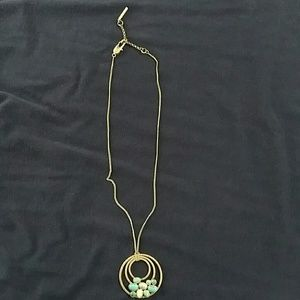 Kenneth Cole burnished metal & turquoise necklace