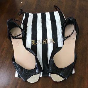 L.A.M.B. Shoes - L.A.M.B. faux snake skin peep toe