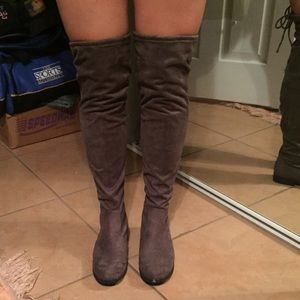 Shoes - Gray over the knee suede boots