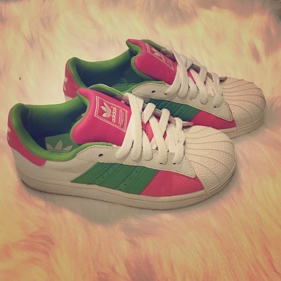 Zapatillas adidas superstar Pink verde Shell Toe zapatilla poshmark