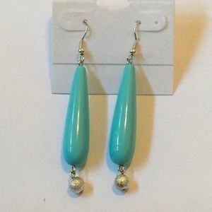 """Bit of Heaven Jewelry - Turquoise and Silver Earrings. 2.75"""" total length."""