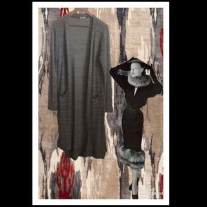 Altar'd State Long Grey & White Cardigan