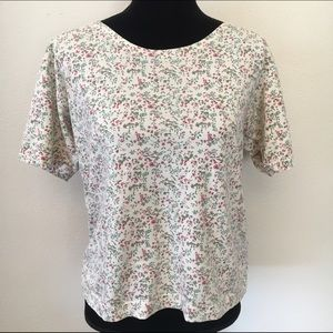 Vintage floral semi cropped forenza tee shirt