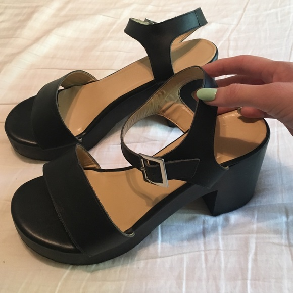 84bb9c01d28 American Apparel Shoes - American Apparel wooden heeled sandals all black
