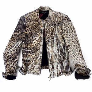 Roberto cavalli leopard print Moto jacket
