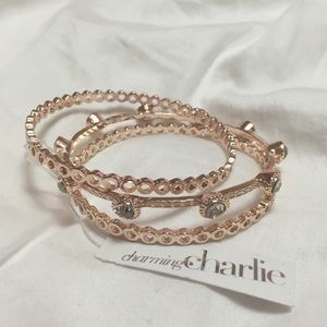 Charming Charlie Jewelry - Charming Charlie Rose Gold Bangles