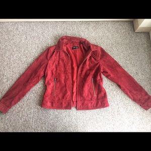Red blazer/leathery jacket