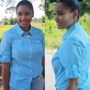 👕Blue Gingham Top👕