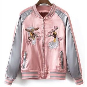Pink and gray bomber jacket