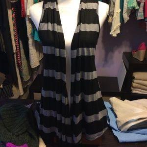 Ambiance Apparel Jackets & Blazers - Striped Flowing Vest