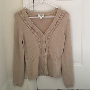 Loft tan sweater xs button up Ann Taylor loft