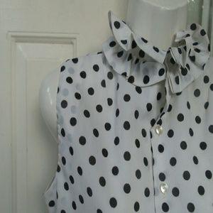Ruffle polka dot blouse S