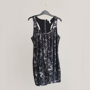 Black and Silver Lace Body dress