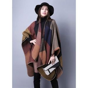 NWT colorblock poncho cape pashmina wrap coat