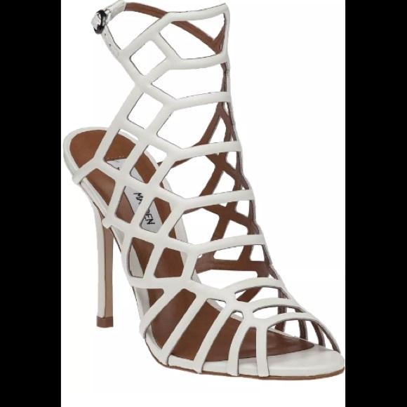 cdd4c298211 Steve Madden Slithur White Caged Sandals 7.5