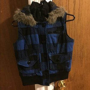 Blue flannel vest