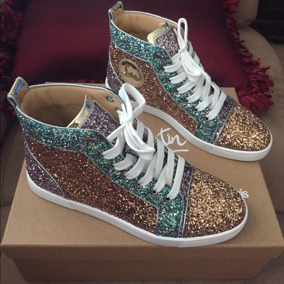 christian louboutin black glitter sneakers