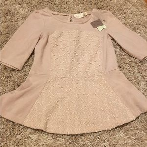 NWT Anthropologie blush peplum sweater