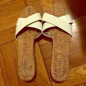 White wedge heel slip on sandal