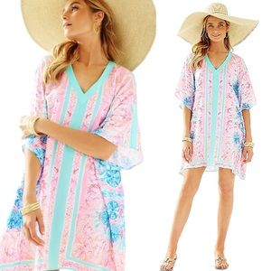 S/M Lilly Pulitzer Thea Caftan Pewter Pink