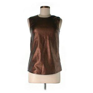Tinley Road Tops - Faux Leather Metallic Bronze Sleeveless Top