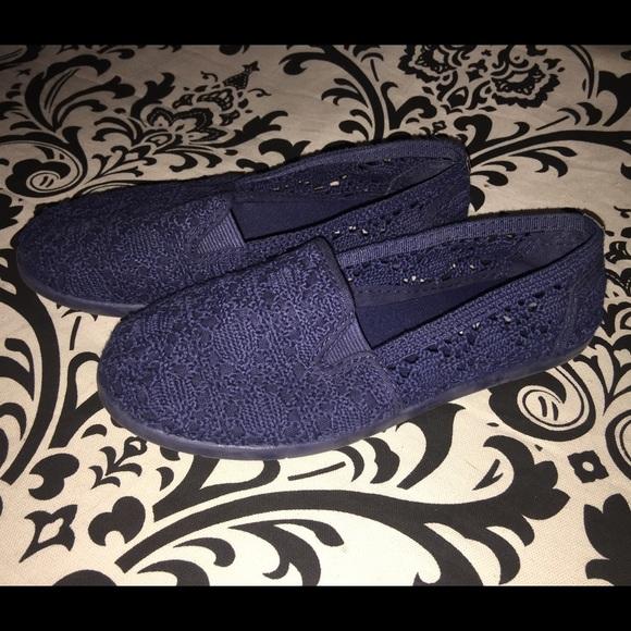 Blue Crochet Slip On Flat Shoe Airwalk