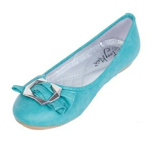 Women Ballet Flats with Buckle b-1610, Teal