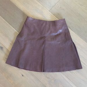 All Saints Leather Pleated Mini Skirt