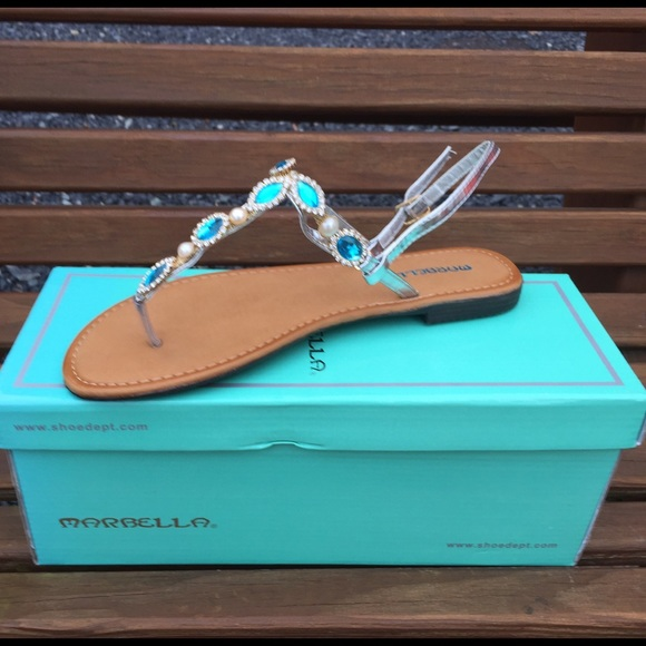 6fd14f5fba077c Marbella Downtown Turquoise Sandals Size 7