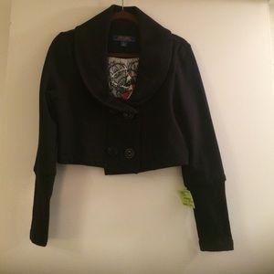 Double breasted sweatshirt crop jacket