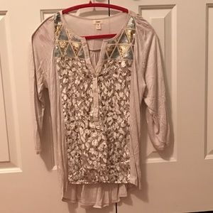 Anthropologie Cream Animal Print Blouse Size Small